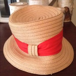 Collapsible red ribbon hat